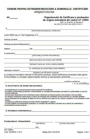 Cerere pentru extindere/reducere