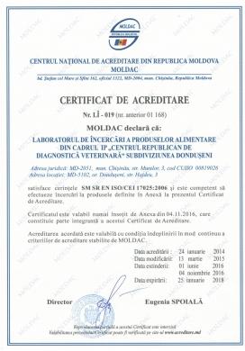 CERTIFICAT DE ACREDITARE  Nr. LÎ – 019 (nr. anterior 01 168) SUBDIVIZIUNEA DONDUŞENI