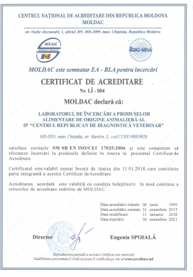 CERTIFICAT DE ACREDITARE  Nr. LÎ — 004 (nr. anterior 01 028)
