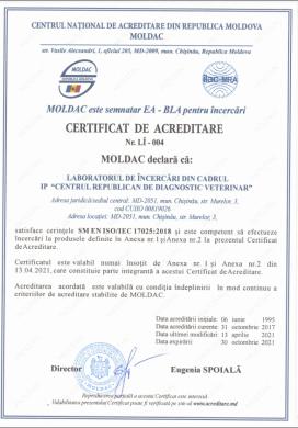 CERTIFICAT DE ACREDITARE  Nr. LÎ – 004